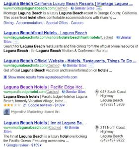 "Google listing for ""laguna beach hotels"""
